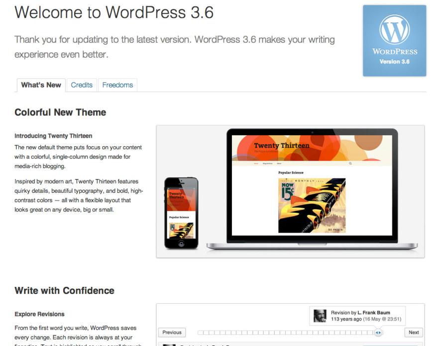 Wordpress Version 3.6